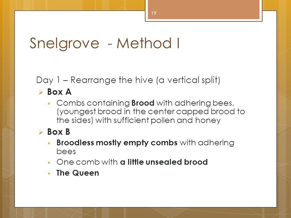 Snelgrove - Method I Day 1 – Rearrange the hive (a vertical split)