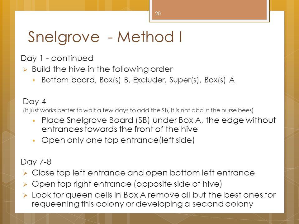 Snelgrove - Method I Day 1 - continued