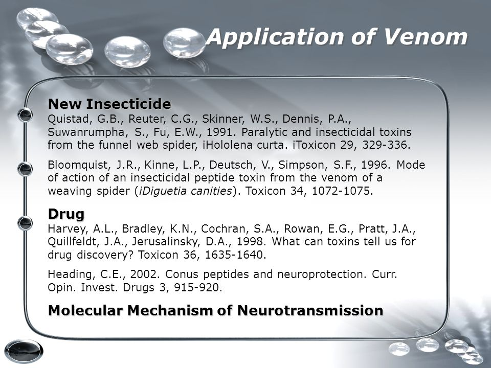 Application of Venom New Insecticide Drug