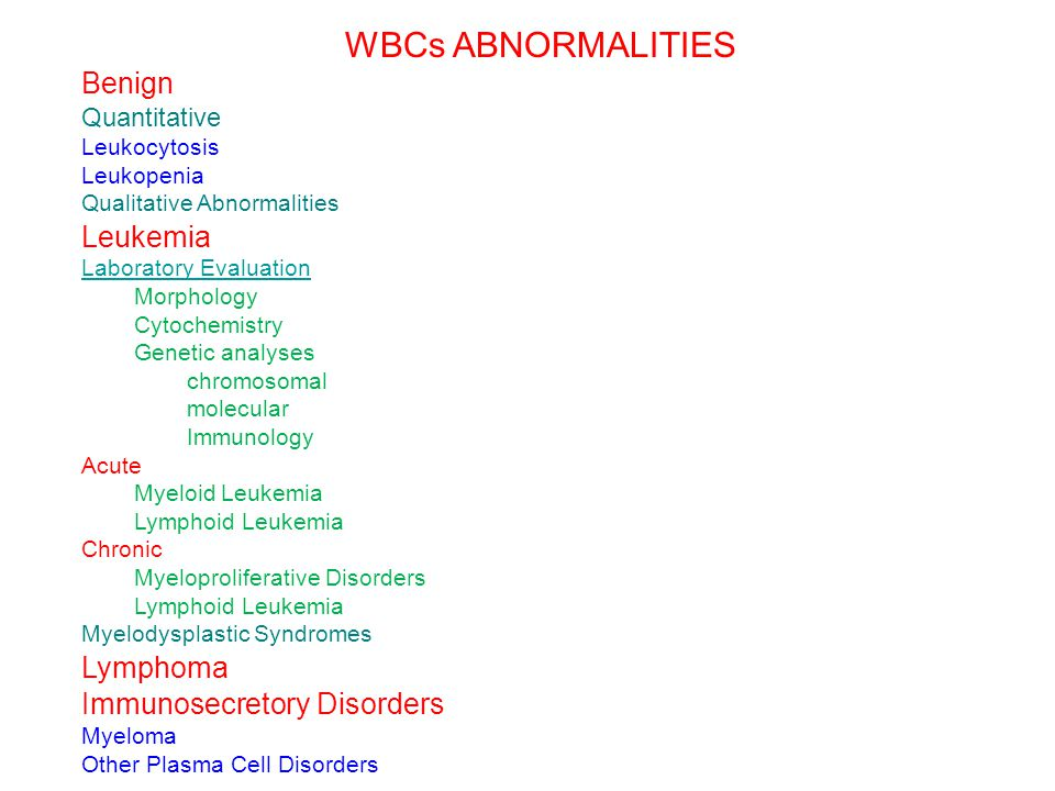 WBCs ABNORMALITIES Benign Leukemia Lymphoma Immunosecretory Disorders