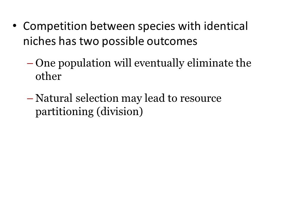 Competition between species with identical niches has two possible outcomes