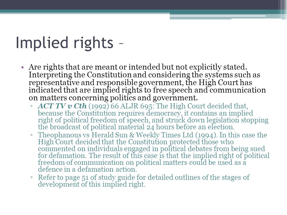 Implied rights –