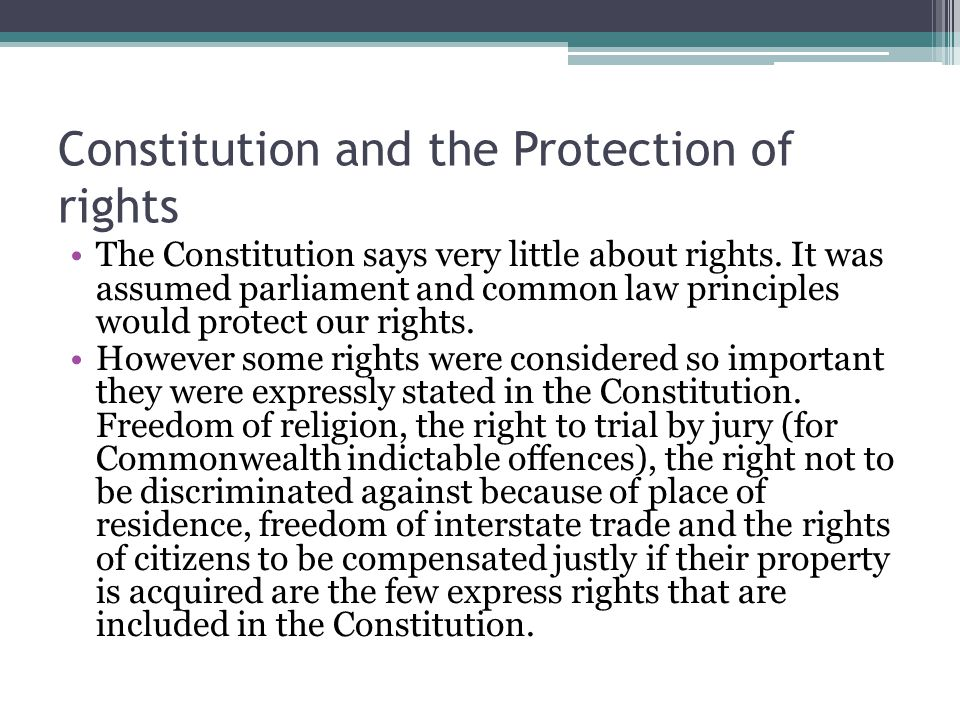 Constitution and the Protection of rights