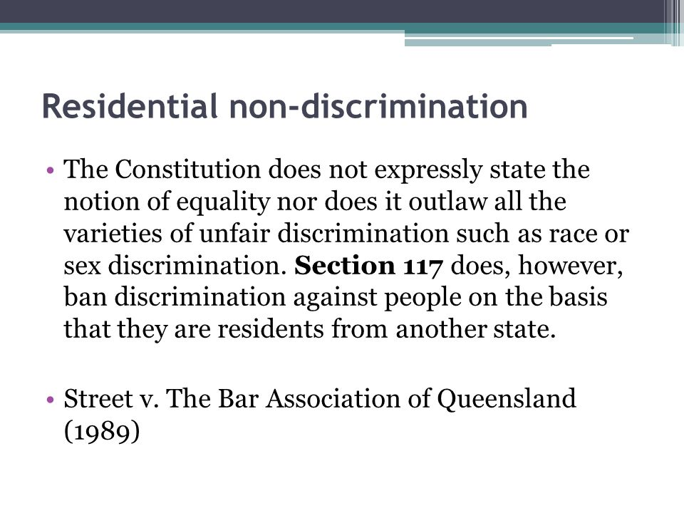 Residential non-discrimination