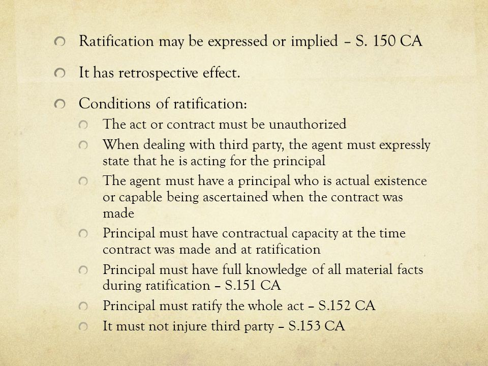 Ratification may be expressed or implied – S. 150 CA