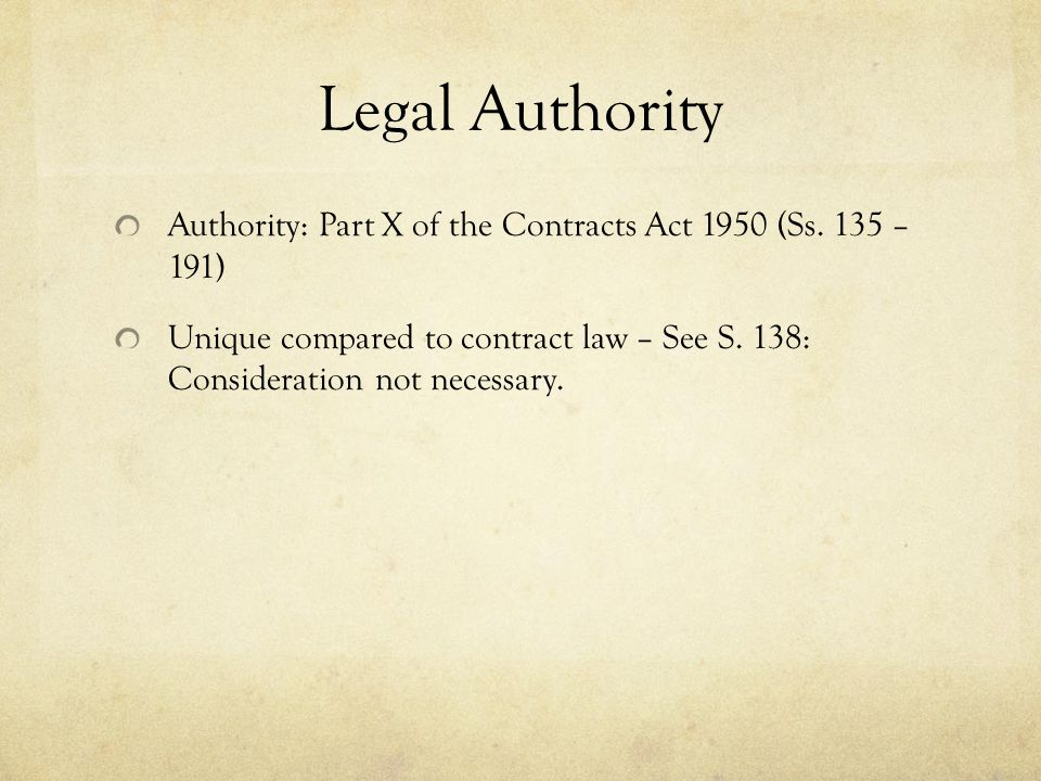 Legal Authority Authority: Part X of the Contracts Act 1950 (Ss. 135 – 191)