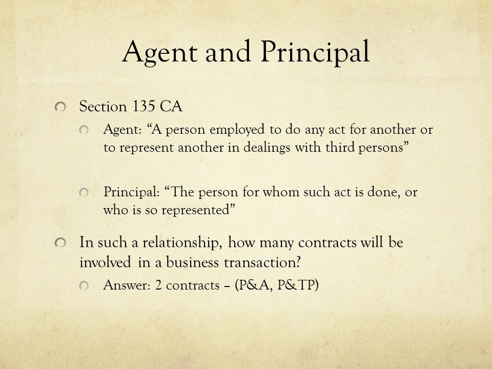 Agent and Principal Section 135 CA