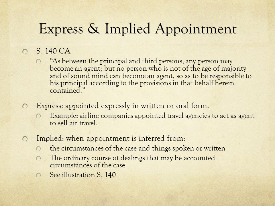 Express & Implied Appointment