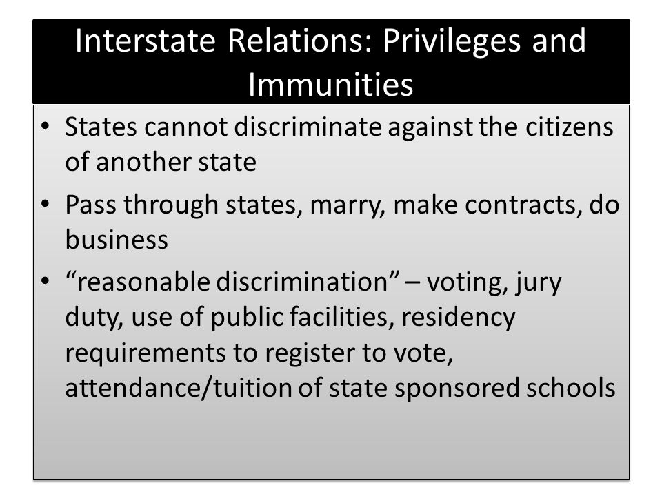 Interstate Relations: Privileges and Immunities
