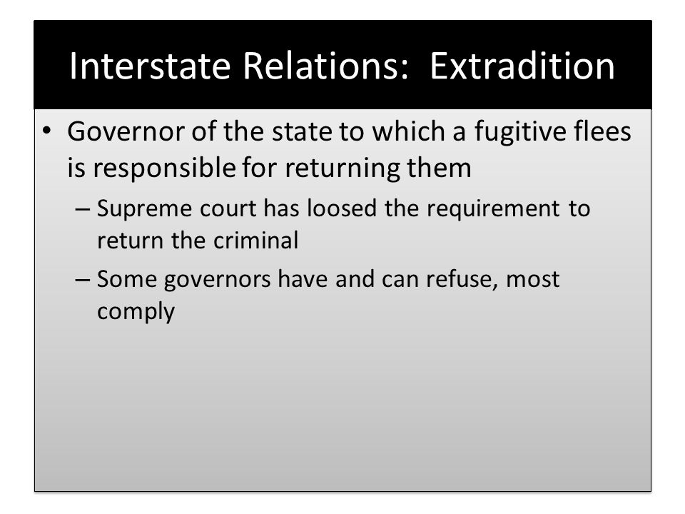 Interstate Relations: Extradition