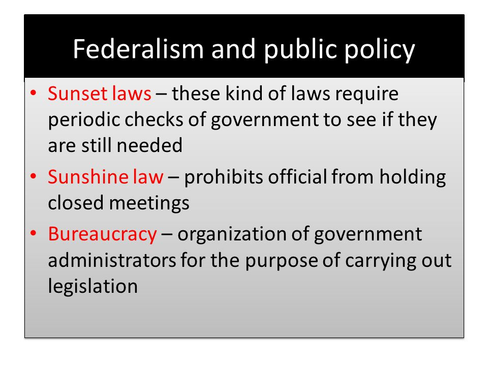 Federalism and public policy