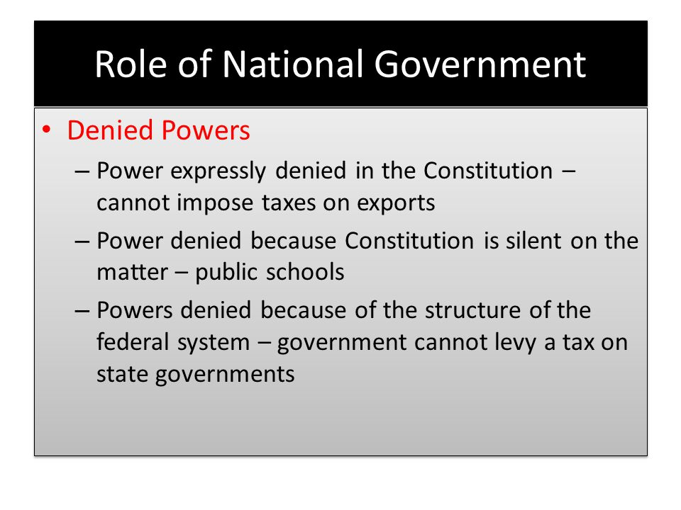 Role of National Government