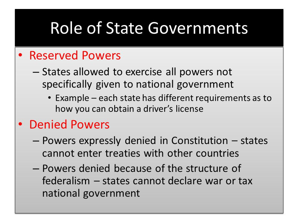 Role of State Governments