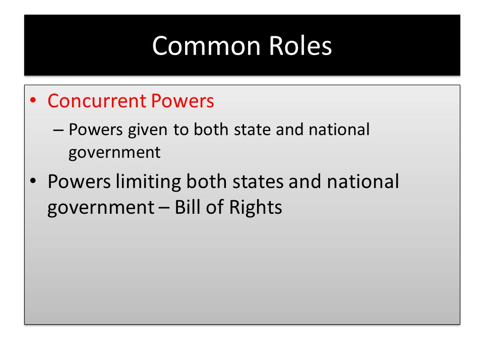 Common Roles Concurrent Powers