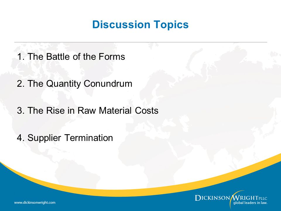 Discussion Topics The Battle of the Forms The Quantity Conundrum