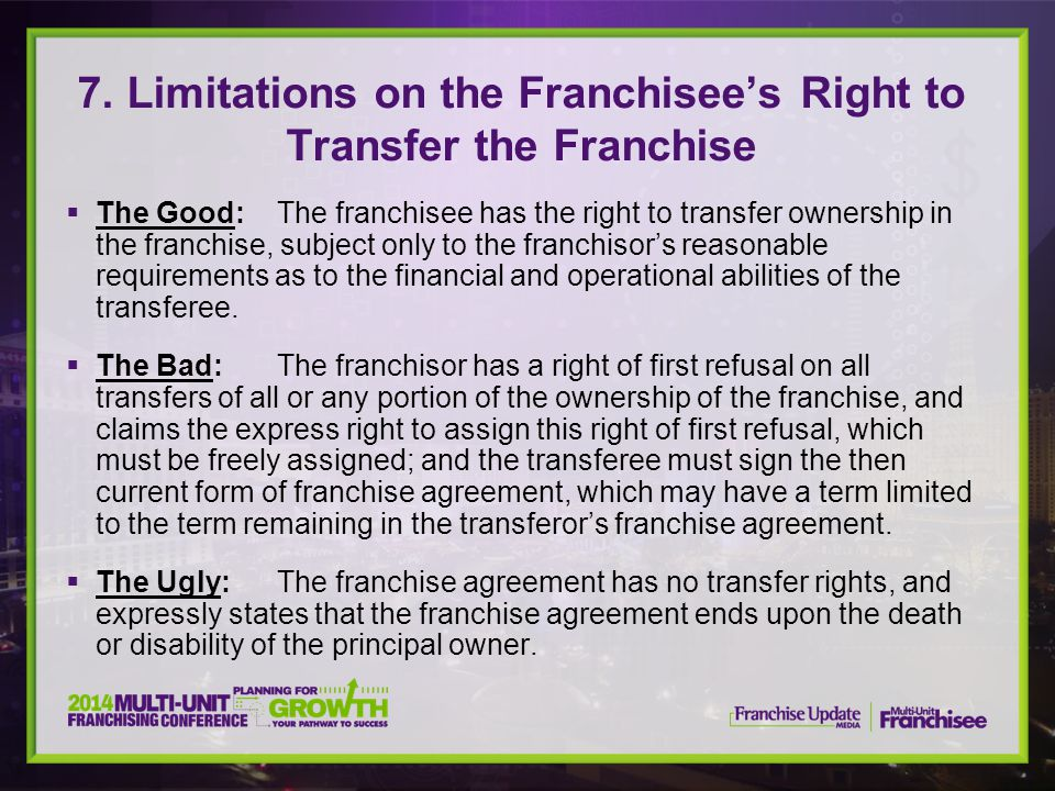 7. Limitations on the Franchisee's Right to Transfer the Franchise