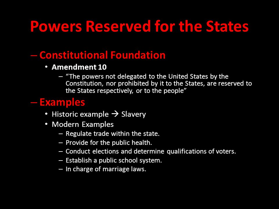 Powers Reserved for the States