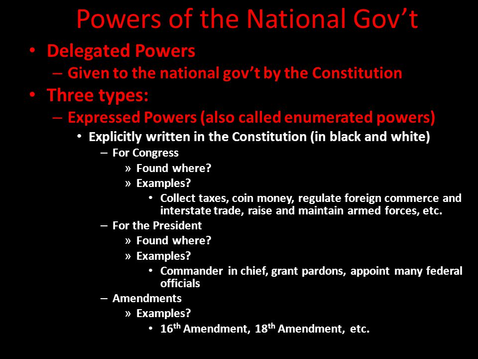 Powers of the National Gov't