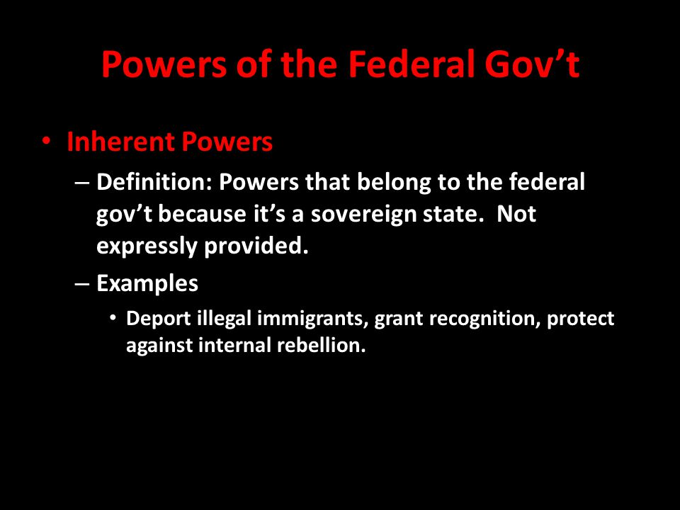 Powers of the Federal Gov't