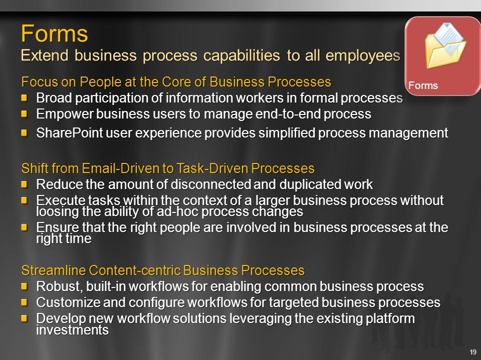 Forms Extend business process capabilities to all employees