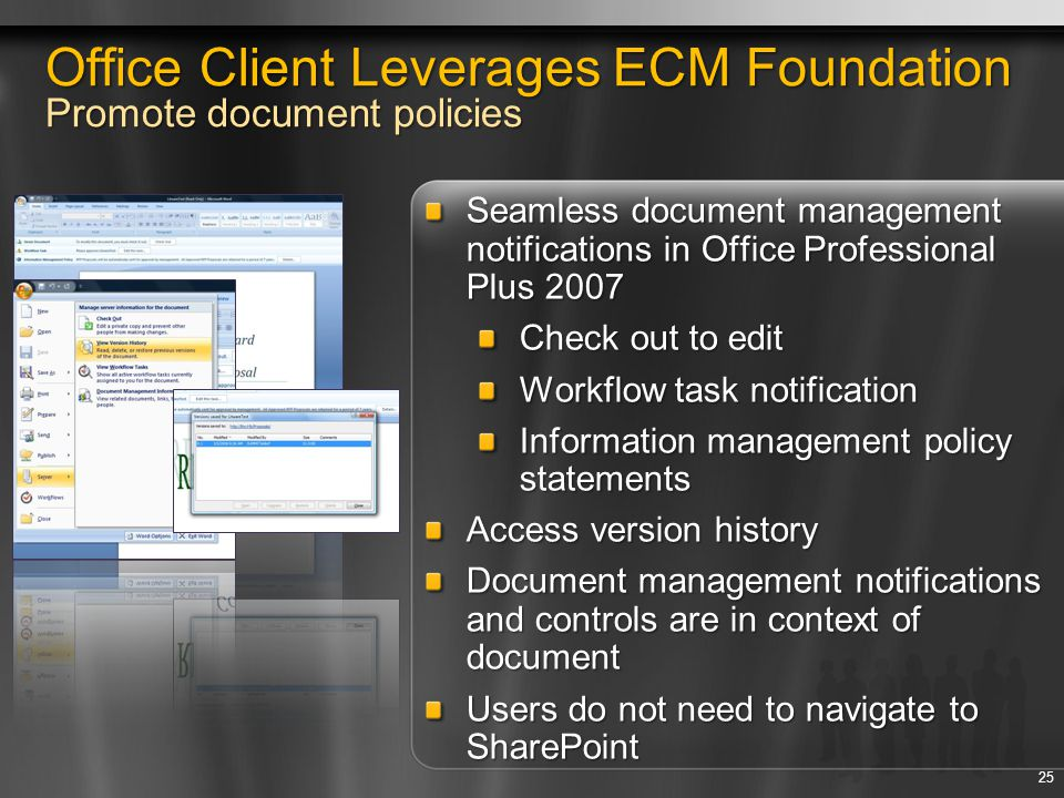 Office Client Leverages ECM Foundation Promote document policies