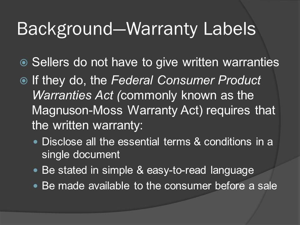 Background—Warranty Labels