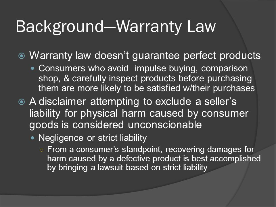 Background—Warranty Law