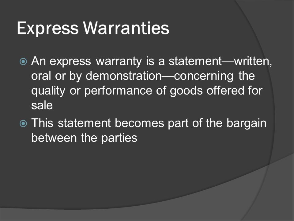 Express Warranties