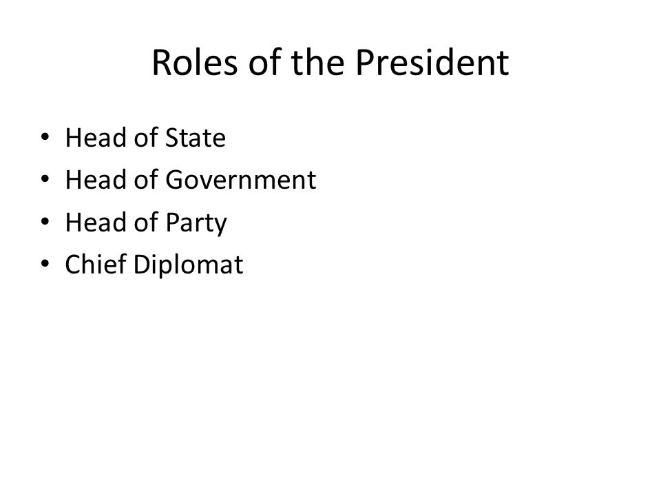 Roles of the President Head of State Head of Government Head of Party