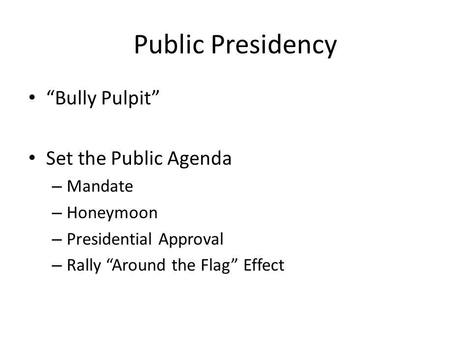 Public Presidency Bully Pulpit Set the Public Agenda Mandate