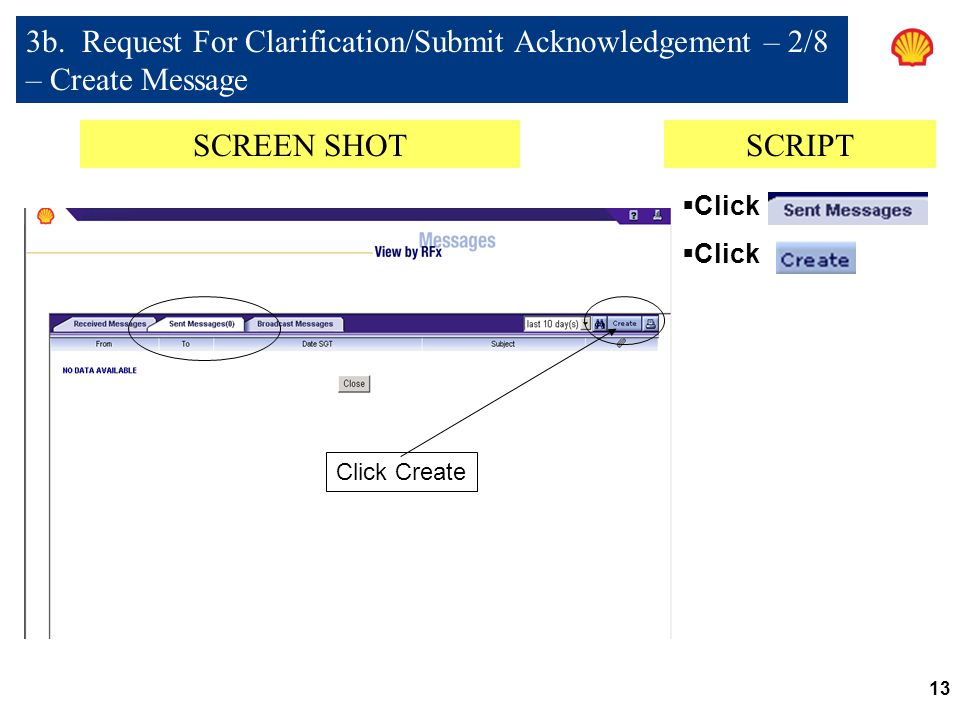 3b. Request For Clarification/Submit Acknowledgement – 2/8 – Create Message