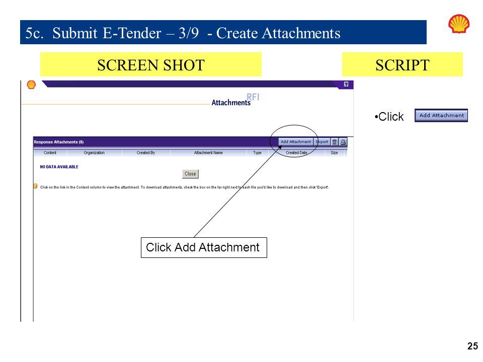 5c. Submit E-Tender – 3/9 - Create Attachments