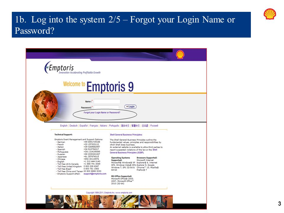 1b. Log into the system 2/5 – Forgot your Login Name or Password