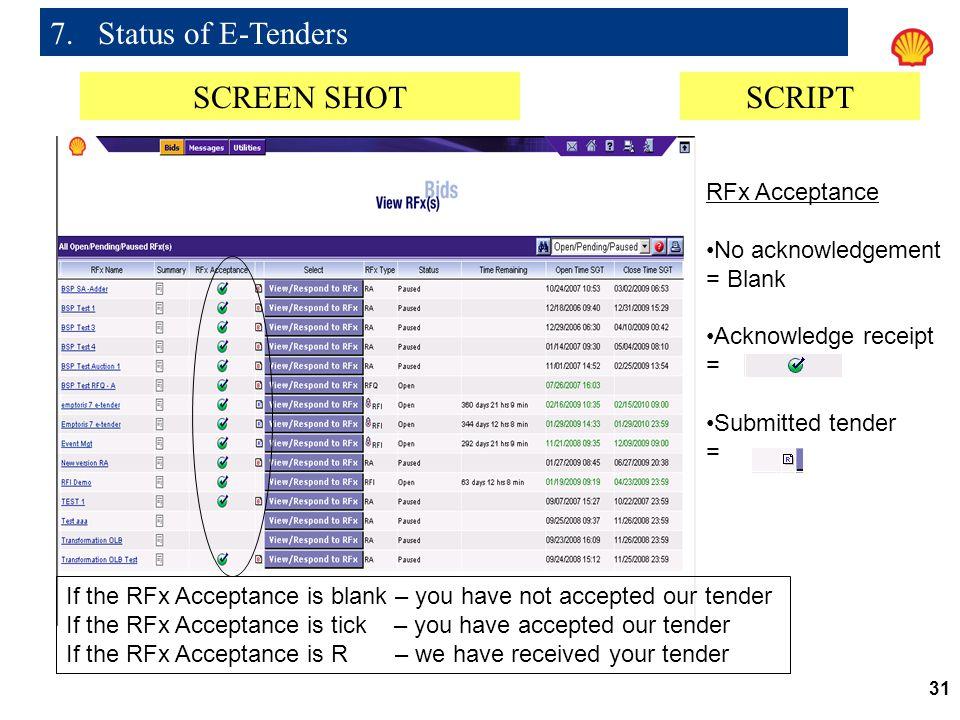 7. Status of E-Tenders SCREEN SHOT SCRIPT RFx Acceptance