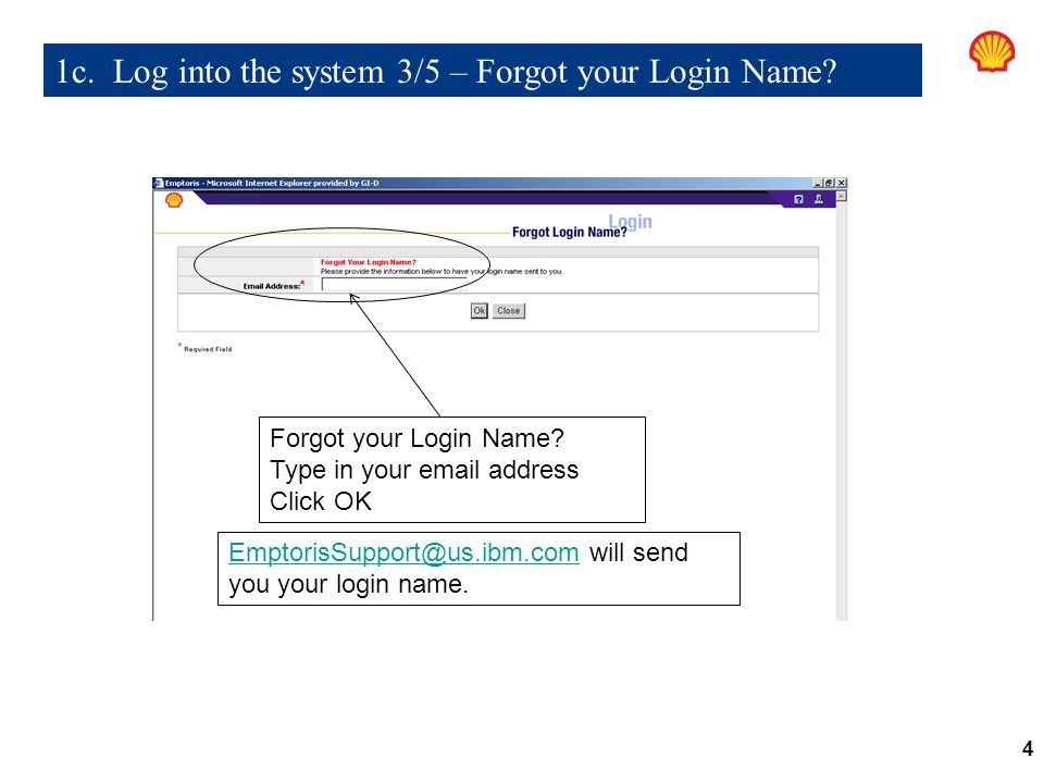 1c. Log into the system 3/5 – Forgot your Login Name