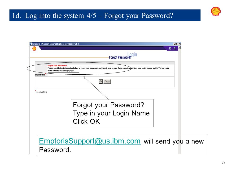 1d. Log into the system 4/5 – Forgot your Password