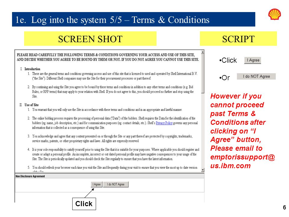 1e. Log into the system 5/5 – Terms & Conditions