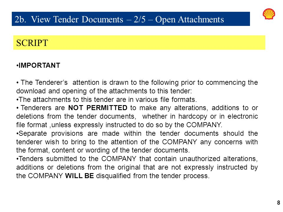 2b. View Tender Documents – 2/5 – Open Attachments