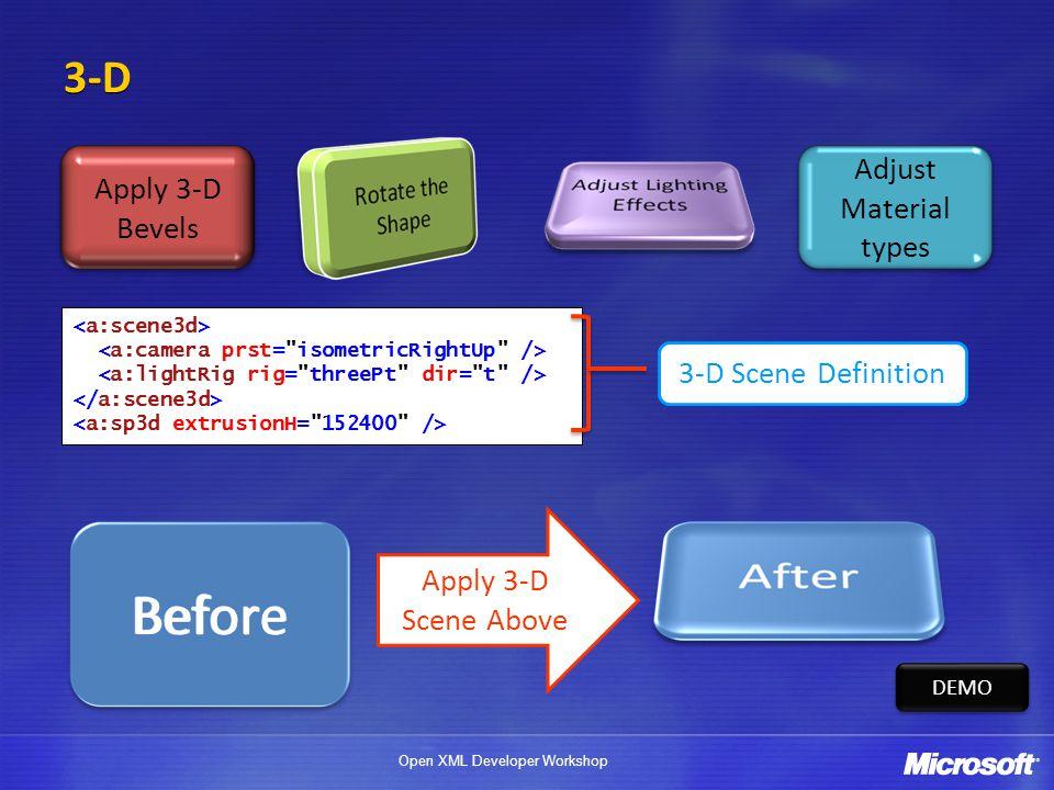 Before 3-D Adjust Material types Apply 3-D Bevels 3-D Scene Definition