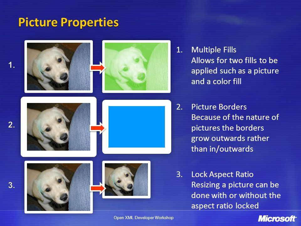 Picture Properties Multiple Fills Allows for two fills to be applied such as a picture and a color fill.