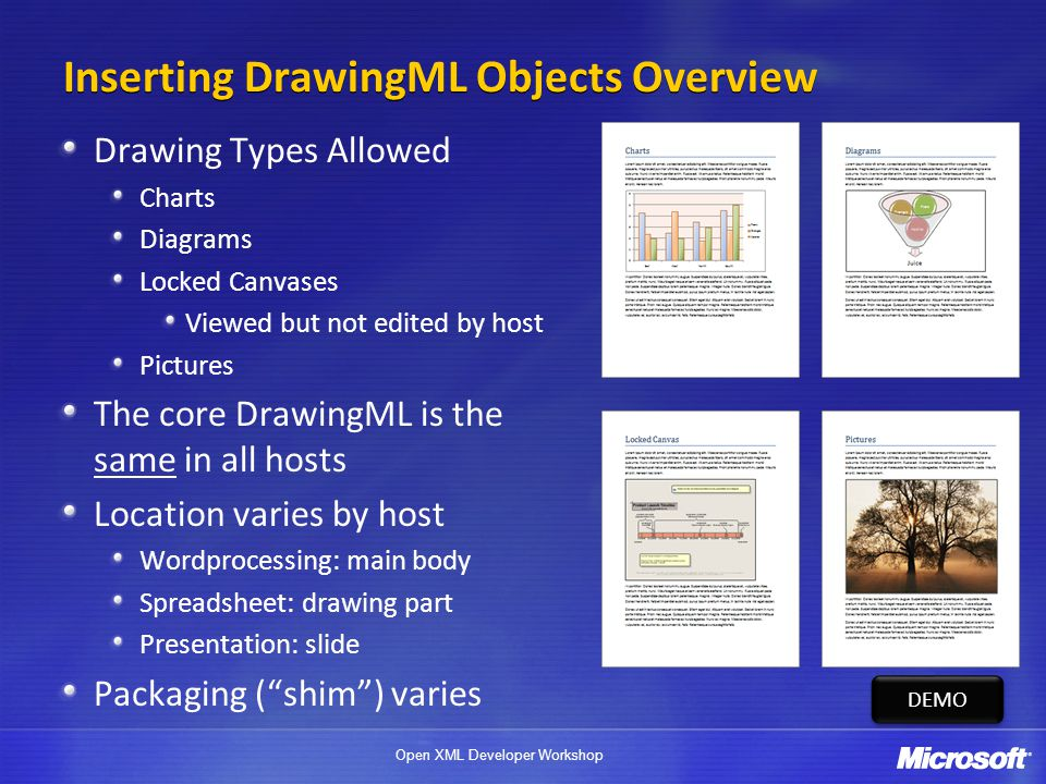 Inserting DrawingML Objects Overview