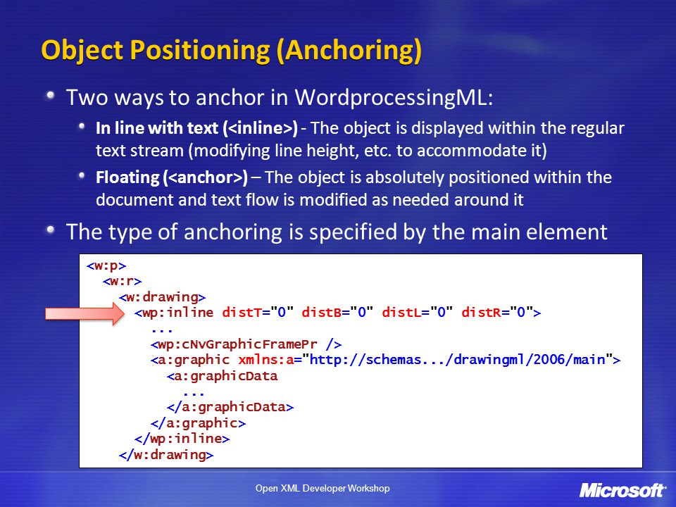 Object Positioning (Anchoring)
