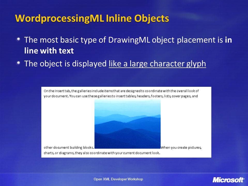 WordprocessingML Inline Objects