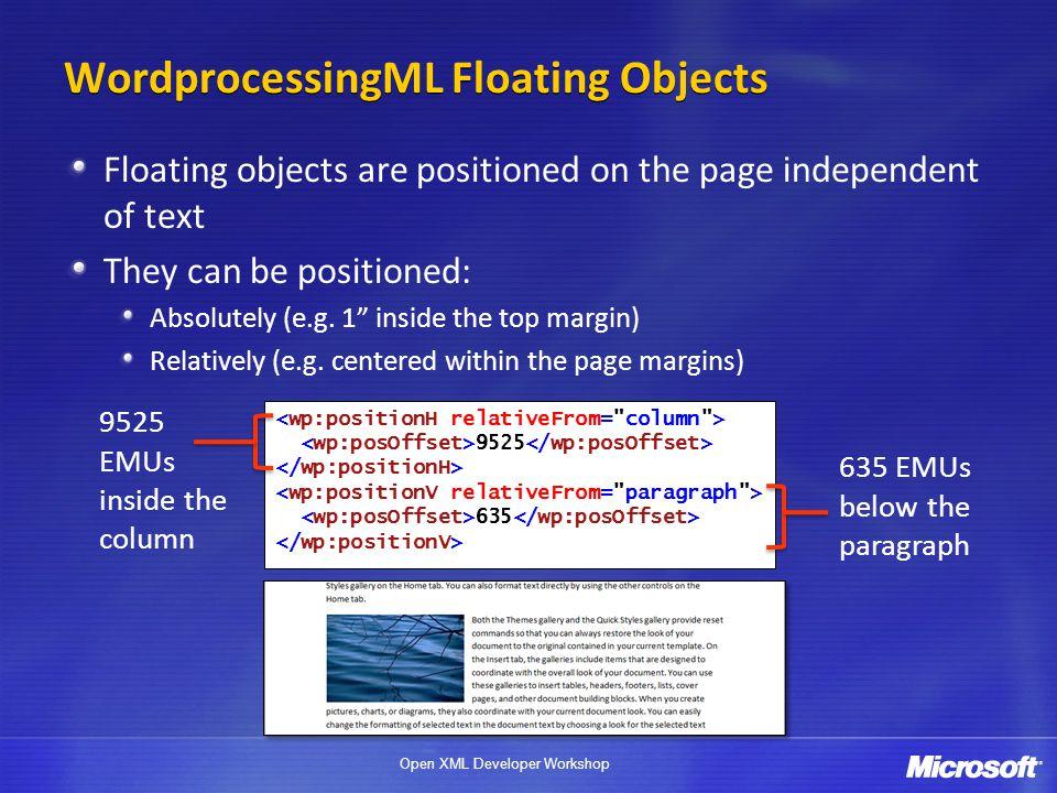 WordprocessingML Floating Objects