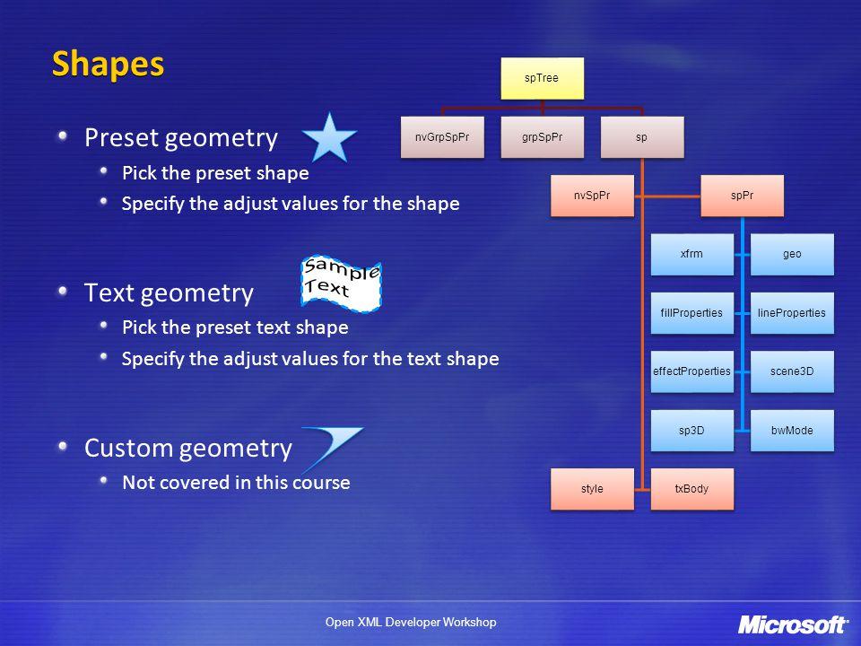Shapes Preset geometry Text geometry Custom geometry