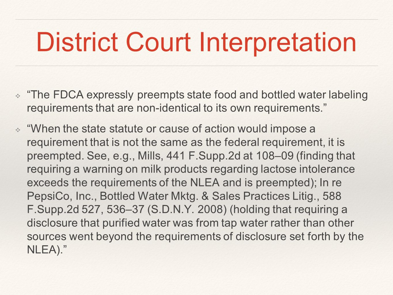 District Court Interpretation