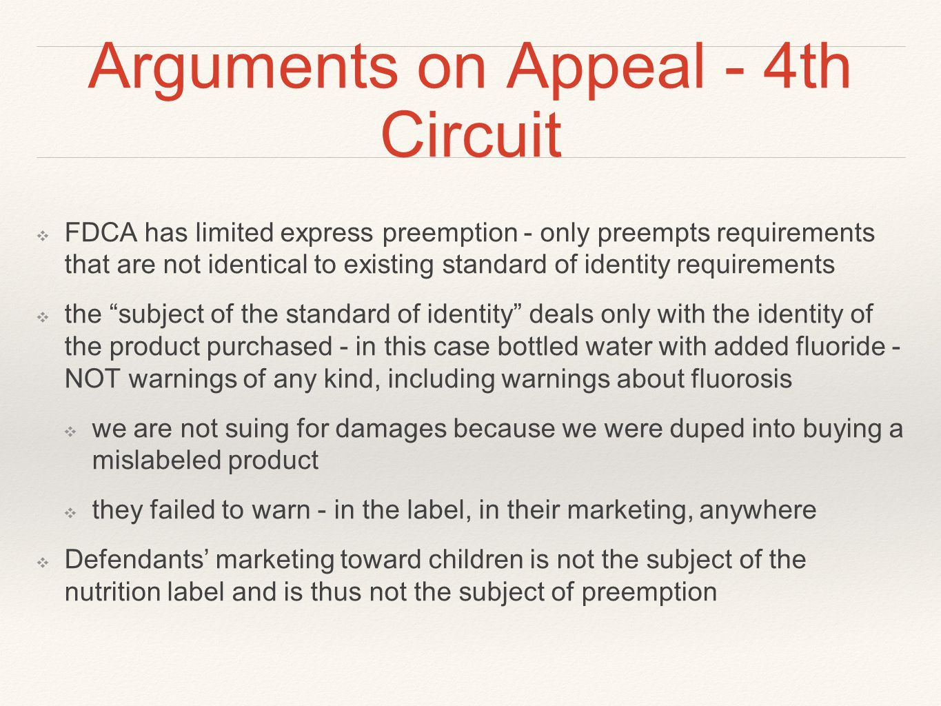 Arguments on Appeal - 4th Circuit