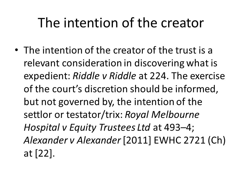 The intention of the creator