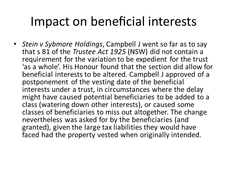 Impact on beneficial interests