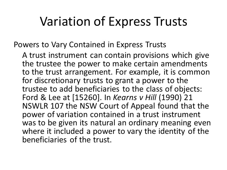 Variation of Express Trusts